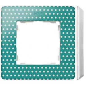 8200610-212 Рамка на 1-ая Simon 82 Detail Original Цвет Морской Волны в горошек-Основание Белое