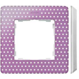 8200610-213 Рамка на 1-ая Simon 82 Detail Original Пастельно-Розовый в горошек-Основание Белое