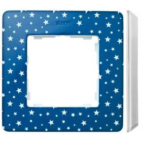 8200610-221 Рамка на 1-ая Simon 82 Detail Original Индиго в звёздочку-Основание Белое