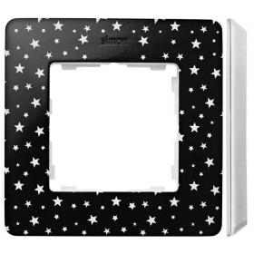 8200610-222 Рамка на 1-ая Simon 82 Detail Original Чёрный в звёздочку-Основание Белое