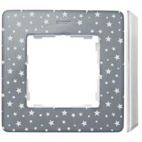 8200610-223 Рамка на 1-ая Simon 82 Detail Original Серый в звёздочку-Основание Белое