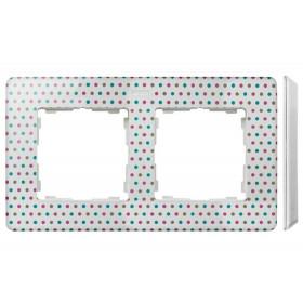 8200620-210 Рамка на 2-ая Simon 82 Detail Original Цветной горошек-Основание Белое