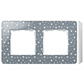 8200620-223 Рамка на 2-ая Simon 82 Detail Original Серый в звёздочку-Основание Белое