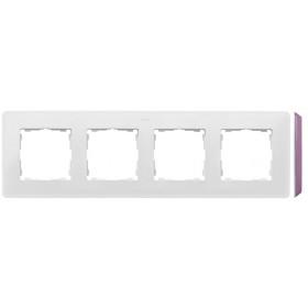 8200640-203 Рамка на 4-ая Simon 82 Detail Original Белый-Основание Пастельно-Розовое