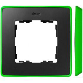 8201610-260 Рамка 1-ая Simon 82 Detail Select Графит-Основание Неоново-Зелёное
