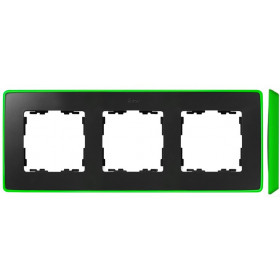 8201630-260 Рамка 3-ая Simon 82 Detail Select Графит-Основание Неоново-Зелёное