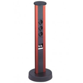 934.30.004 Мини-колонная Vertical, высота 600мм, 3 эл.розетки + 2хRJ45, Красный
