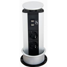931.03.841 Розеточный блок(Port USB Charger) на 2*2к+з и 2 USB зарядки, крышка серебр. каб. 3м