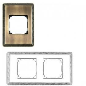 39822532 Рамка 2 места VENEZIA с квадратным вырезом. АНТИЧНАЯ БРОНЗА