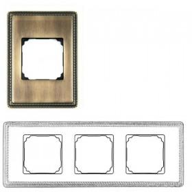39823532 Рамка 3 места VENEZIA с квадратным вырезом. АНТИЧНАЯ БРОНЗА