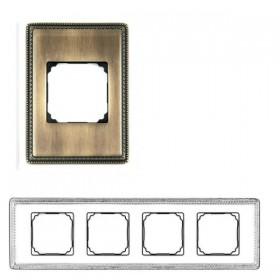 39824532 Рамка 4 места VENEZIA с квадратным вырезом. АНТИЧНАЯ БРОНЗА