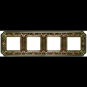 FD01354PBCL Рамка 4-ая с кристаллами(Palace Siena), Bright Patina