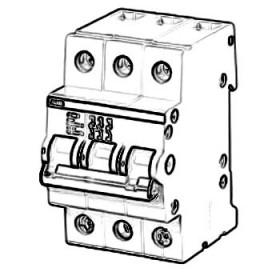 2CDE282001R0016 Выключатель нагrрузки(рубильник) модульный(E203r) 3-полюса 16A рычаг красный