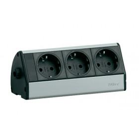 930.15.453 Розеточный блок(Dock DESK) 3 розетки 2к+з, кабель 2.5м с разборной вилкой, Алюминий