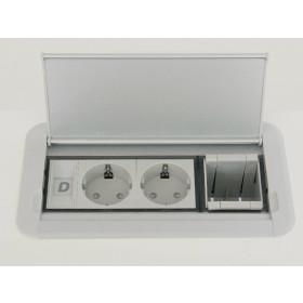 Розеточный блок: 2 розетки 2к+з и 2 модуля для информ.розетки, шнур с вилкой KOMPAKT S EN 1M 2P 2DT