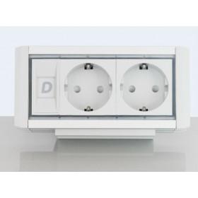 DESK 1M 2P Розеточный блок на 2 розетки 2р+3, Алюминий-Серый