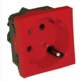 851607 Розетка 2к+з с защитными шторками и С КЛЮЧОМ, под углом 45 градусов (LK45), КРАСНАЯ