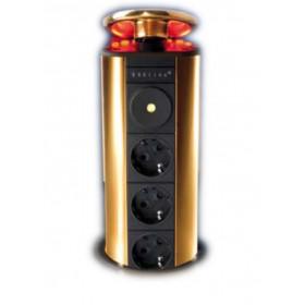 931.02.521 Выдвижной розеточный блок на 3 розетки 2к+з, крышка ант.бронза с красн.подсвет, кабель 3м