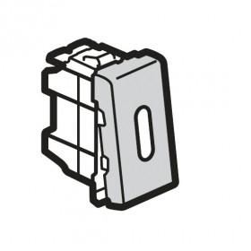79202 Mosaic Выключатель с 2-х мест с подсветкой 1 модуль(45*22,5мм) 10АХ, АЛЮМИНИЙ