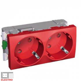ALB45254 Розетка 2к+з двойная со шторками 45 гр. Altira Schneider Electric, красная