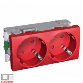 ALB45256 Розетка 2к+з двойная с блокировкой со шторками 45 гр. Altira Schneider Electric, красная