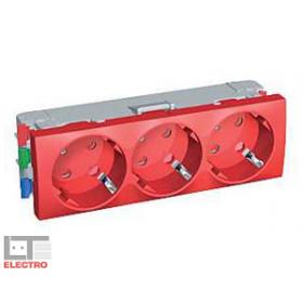 ALB45266 Розетка 2к+з тройная с блокировкой со шторками 45 гр. Altira Schneider Electric, красная