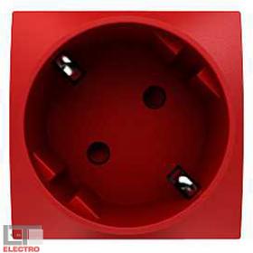 ALB45286 Розетка 2к+з с блокировкой со шторками 45 гр. КРАСНАЯ