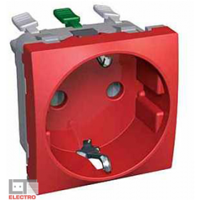 ALB45288 Розетка 2к+з со шторками Altira Schneider Electric, красная