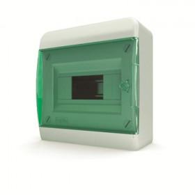 01-01-002 Щит навесной 8 мод. IP40, прозрачная зеленая дверца BNZ 40-08-1 (Tekfor серия B)
