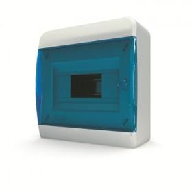 01-01-004 Щит навесной 8 мод. IP40, прозрачная синяя дверца BNS 40-08-1 (Tekfor серия B)