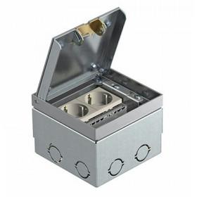 7368384 Лючок укомплектованный 2 розетки 2к+з (GE2V VO). Нержавеющая сталь